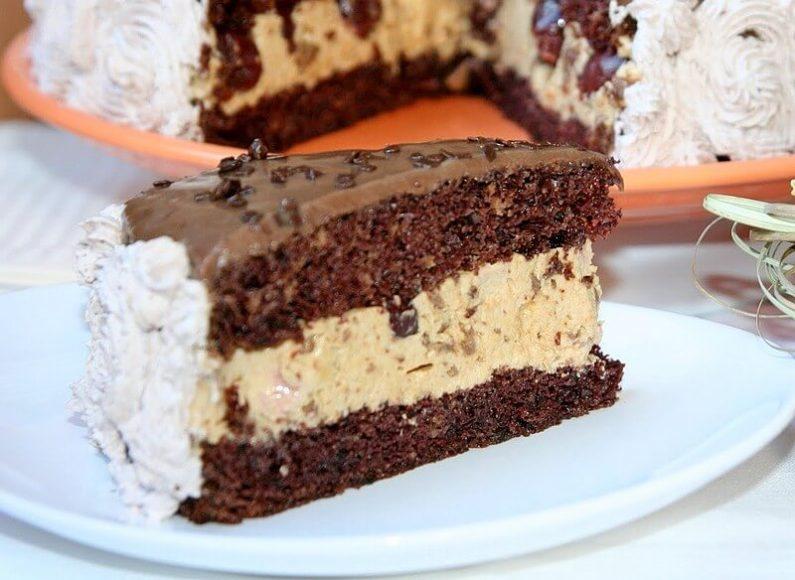 karamel torta sa visnjama i cokoladom